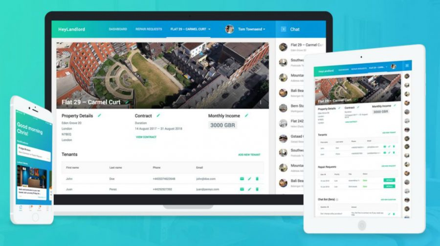 HeyLandlord desktop and mobile app