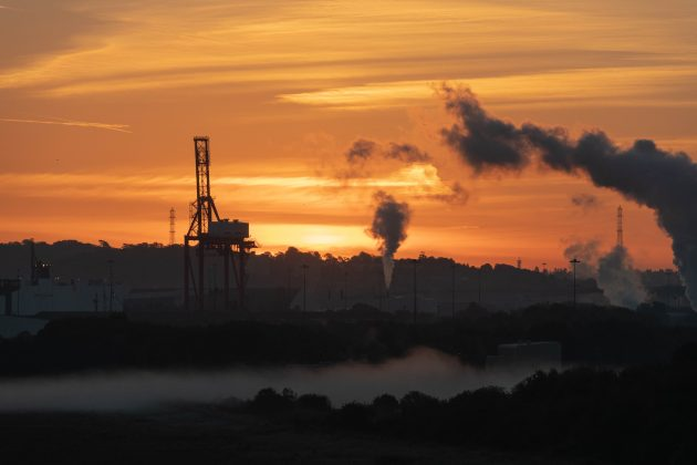 The Sun Rises Over Royal Portbury Docks In Somerset