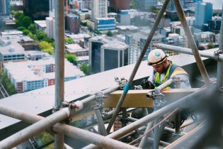 Construction General View Man Seattle Space Needle