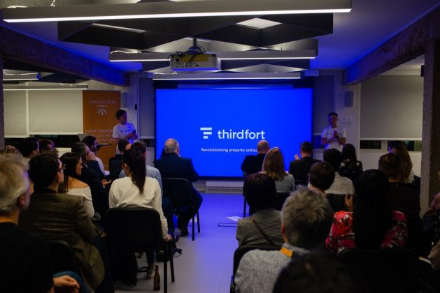 Geovation Thirdfort presentation at showcase from left: Jack Bidgood and Oliver Thornton-Berry