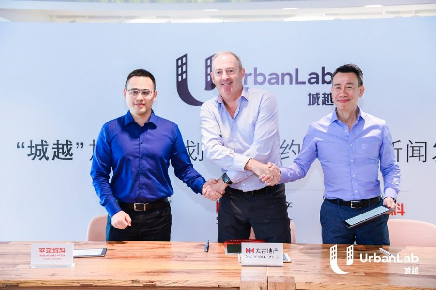 UrbanLab collaboration, from left: Wei Basong, chief technology officer at Ping An Urban Tech; Guy Bradley, chief executive at Swire Properties; and KK Fung, chief executive officer at Great China JLL.